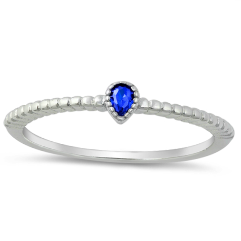 Womens and childs pear shaped blue sapphire ring