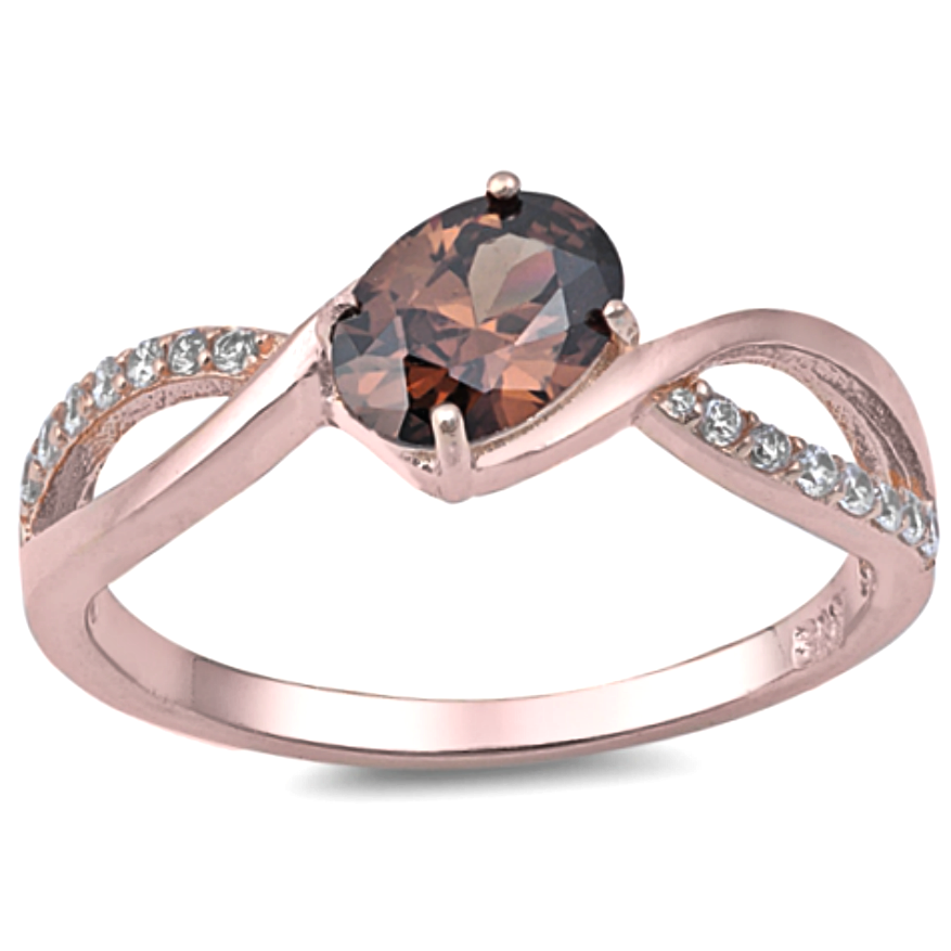 Unique chocolate oval cut ring in rose gold with sterling silver