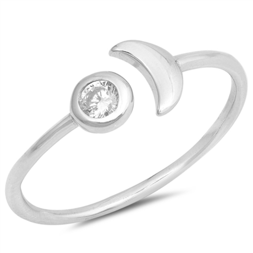 Womens and girls moon and star ring
