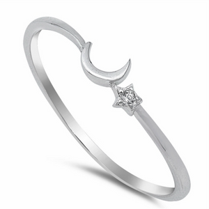 Womens and childs crescent moon star thin band ring