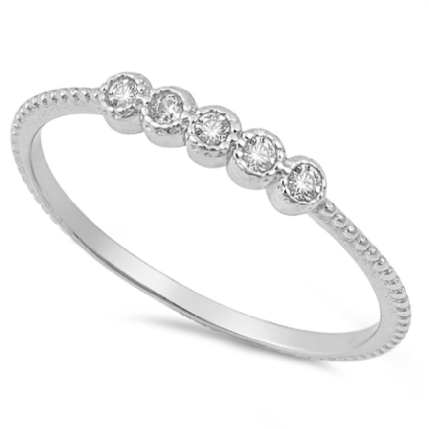 Womens and girls CZ circles midi ring