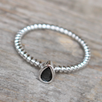 Black onyx teardrop ring
