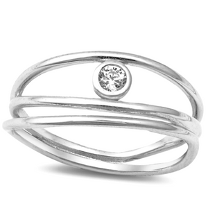 Womens multi-band stackable cage ring in sterling silver