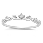 .925 Sterling Silver Wave Crown CZ Ladies and Girls Ring Size 5-10 Midi Tiara