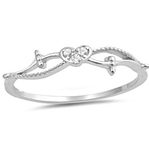 Ladies very small heart CZ ring