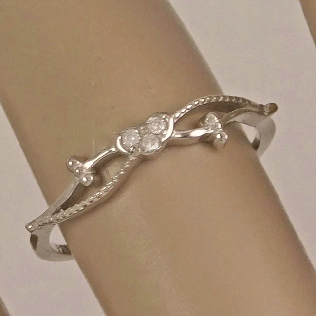 Womens tiny CZ heart ring