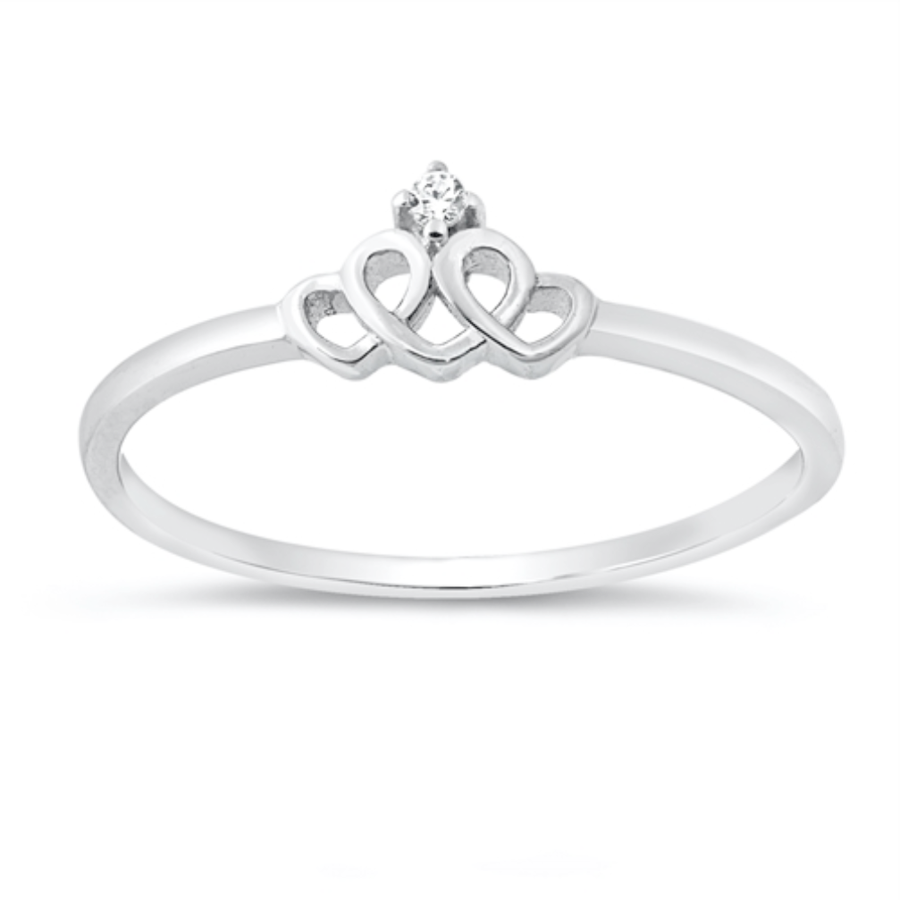 Womens and girls heart crown ring