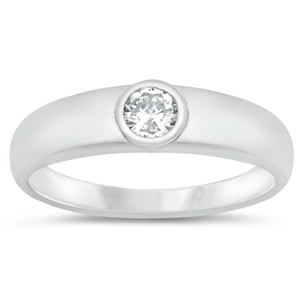 Pearl with Bezel Round Cubic Zirconia .925 Sterling Silver Ring Sizes 4-10