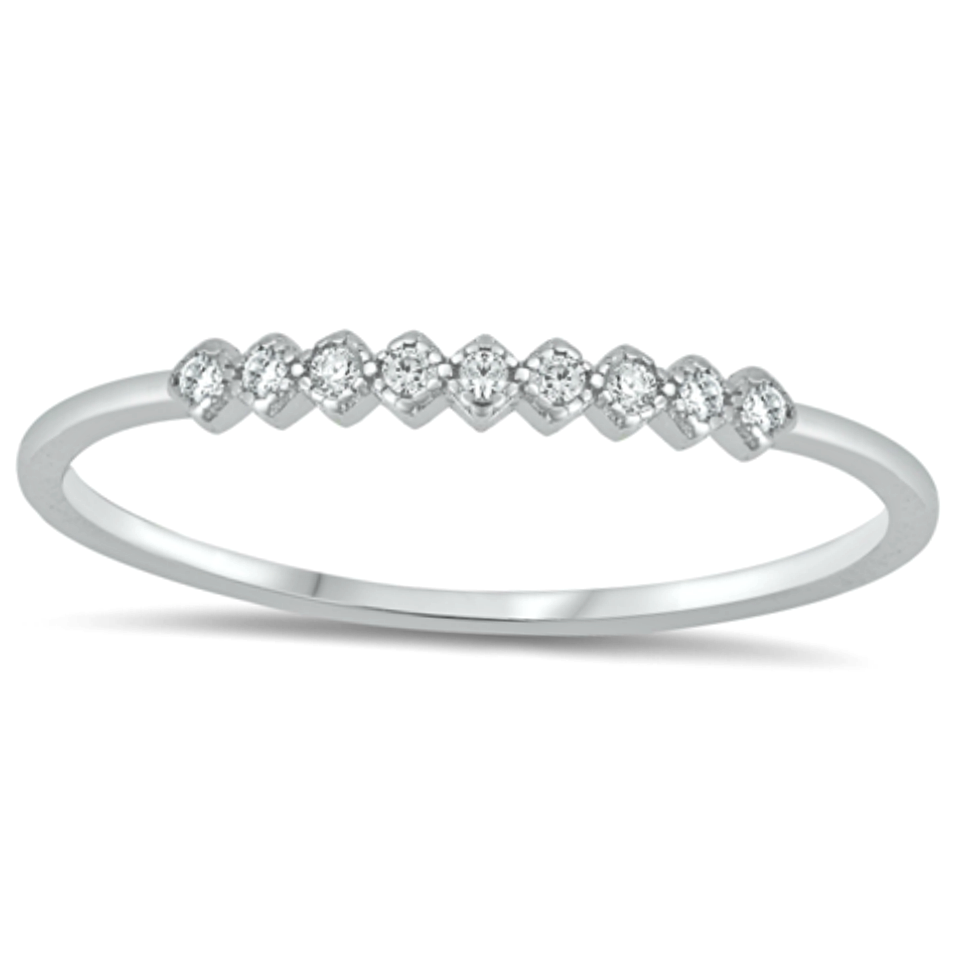 Womens and childs marquise shaped thin band ring