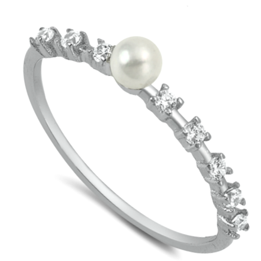 Pretend pearl and gemstone knuckle fashion ring in sterling silver