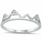 Womens and kids mountains ring in silver