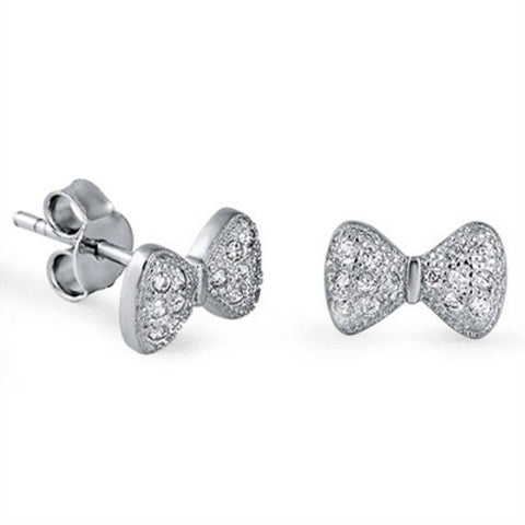 Ribbon Bow Tie Earrings in .925 Sterling Silver for Women or Kids