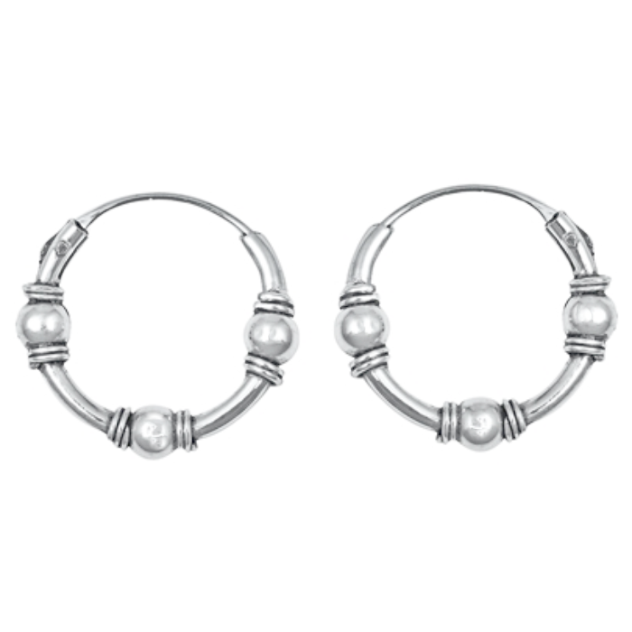 Small beaded hoop earrings