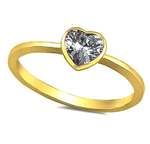 Yellow Gold over Sterling Kids and Ladies Clear CZ Heart ring  Sweet simplicity with this bevel set CZ kids ring, baby ring, infant ring, midi ring, knuckle ring, thumb ring, a promise ring, a unique engagement ring or wedding band, a friendship ring, etc.