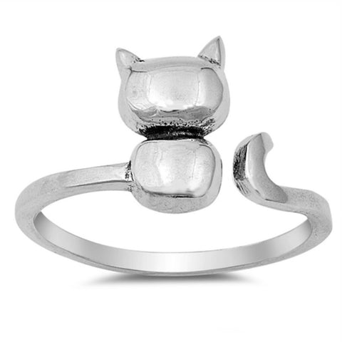 Ladies or kids Kitty Cat Ring with Wrap Band in Sterling Silver Size 4-12