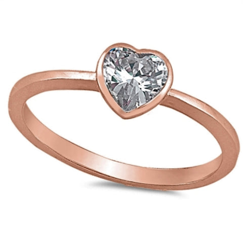 Rose Gold Diamond Heart ring Kids and Ladies Size 2-10 in .925 Sterling Silver