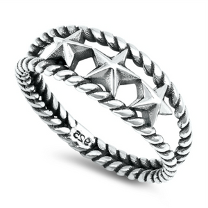 5 Stars for our new three star double band ring in classic sterling silver