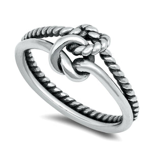 Knotted rope band with smooth band double infinity knot ring in sterling silver