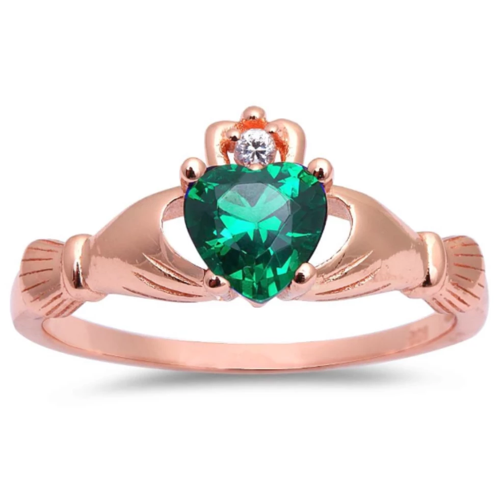 Womens and girls rose gold emerald heart ring