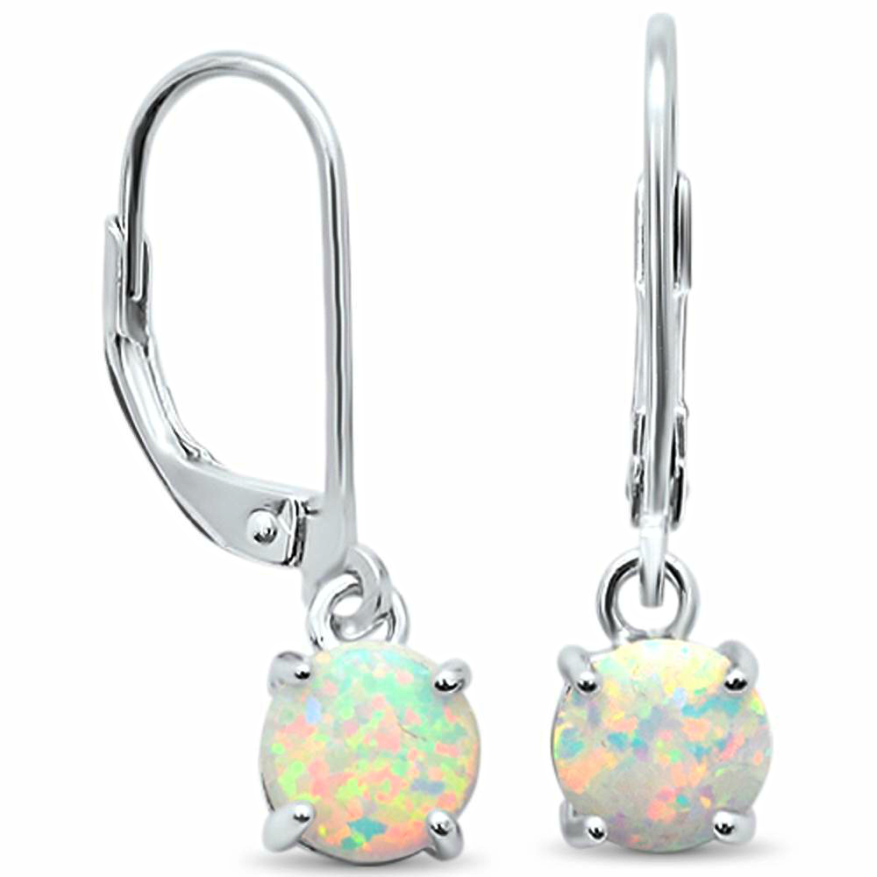 Womens rainbow fire opal small drop earring