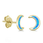 Womens and girls blue moon gold earring studs