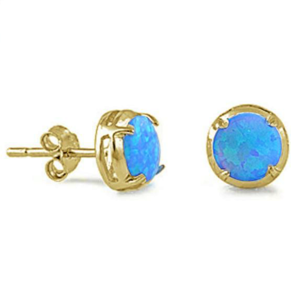 Womens and girls round cut opal gold earring studs