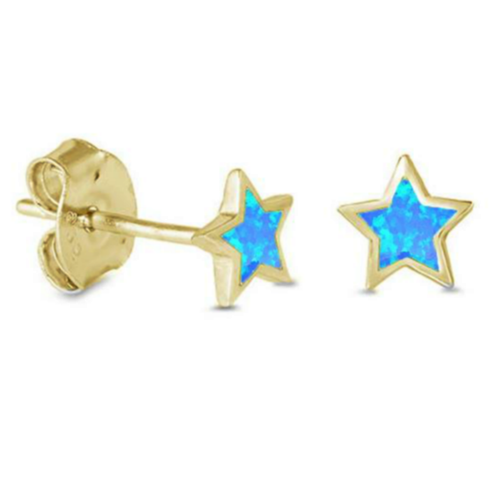 Blue Opal Star Earring Studs in Yellow Gold
