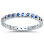 Sapphire September birth stone eternity band ring