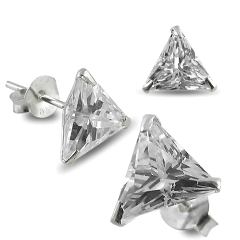 .925 Sterling Silver Trillion Triangle Cut Clear CZ Stud Earrings in 4mm-8mm