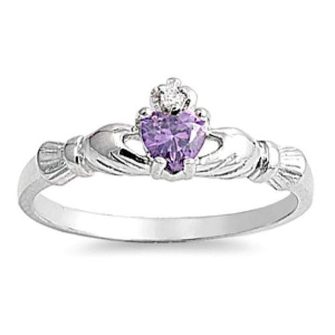 Sterling Silver Petite .50 ct. Amethyst CZ Claddagh Ring Size 1-9 by Blades and Bling Sterling Silver Jewelry