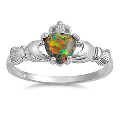 Sterling Silver Black Opal Claddagh Ring Size 4-12 - Blades and Bling Sterling Silver Jewelry