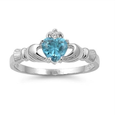Sterling Silver Blue Topaz CZ Claddagh Ring Size 5-12 - Blades and Bling Sterling Silver Jewelry