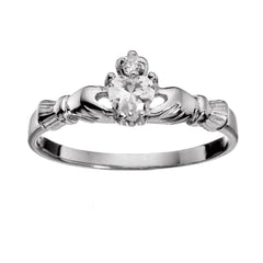 Sterling Silver .50 ct. Petite Clear Simulated Diamond CZ Claddagh Ring Size 1-9