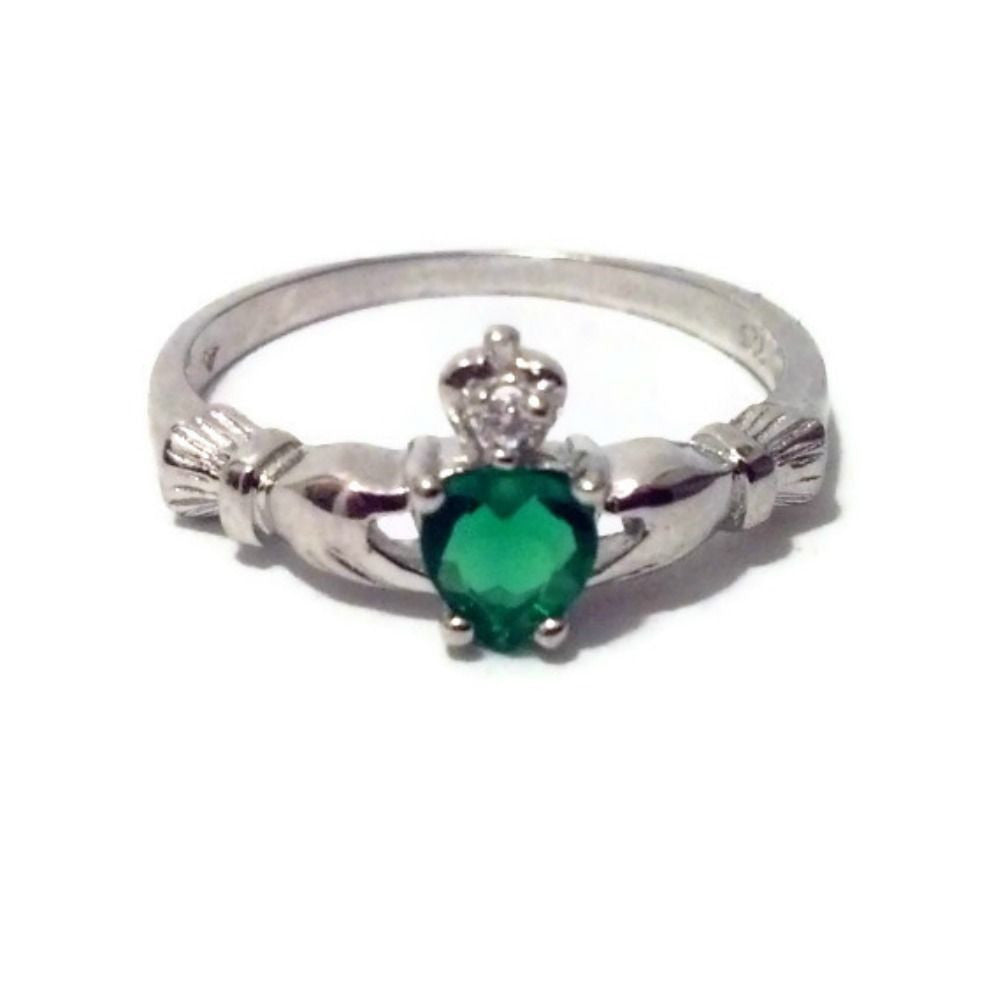 Sterling Silver Petite .50 ct. Emerald CZ Claddagh Ring Size 1-9 by Blades and Bling Sterling Silver Jewelry