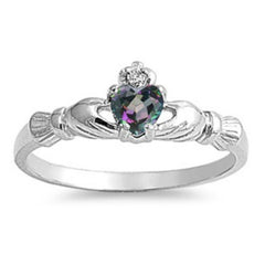 Sterling Silver .50 ct. Petite Rainbow Mystic Topaz CZ Claddagh Ring Size 1-9