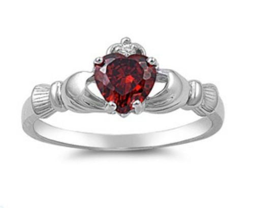 Sterling Silver Red Garnet CZ Irish Claddagh Ring Size 5-10 by Blades and Bling