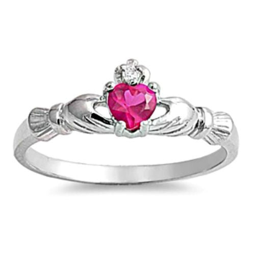 Sterling Silver Ruby CZ Claddagh Baby Ring Size 1-4 by Blades and Bling Sterling Silver Jewelry