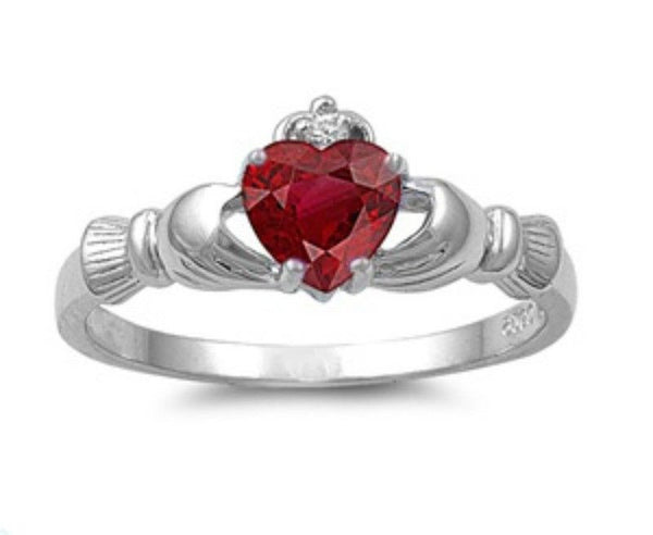 Sterling Silver Ruby CZ Irish Claddagh Ring Size 4-12 by Blades and Bling Sterling Silver Jewelry