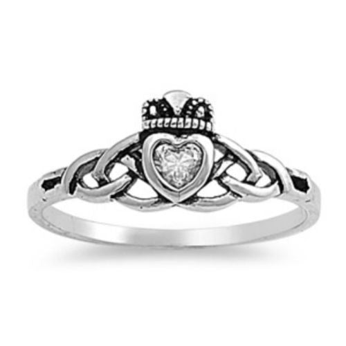 Sterling Silver Cetic Knot Infinity CZ Claddagh Ring size 2-9 - Blades and Bling Sterling Silver Jewelry