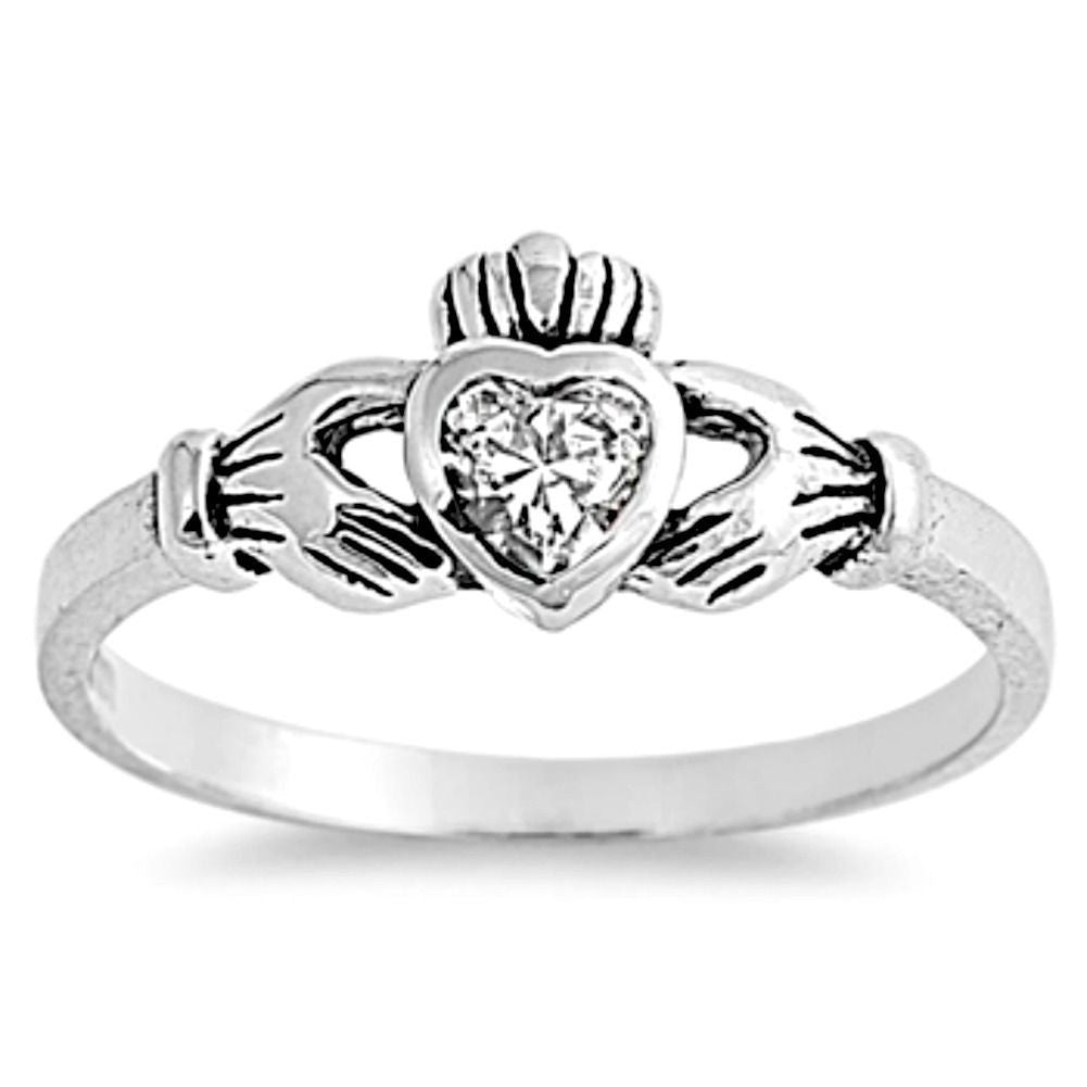 Sterling Silver Clear CZ Simple Claddagh Ring size 1-9 - Blades and Bling Sterling Silver Jewelry