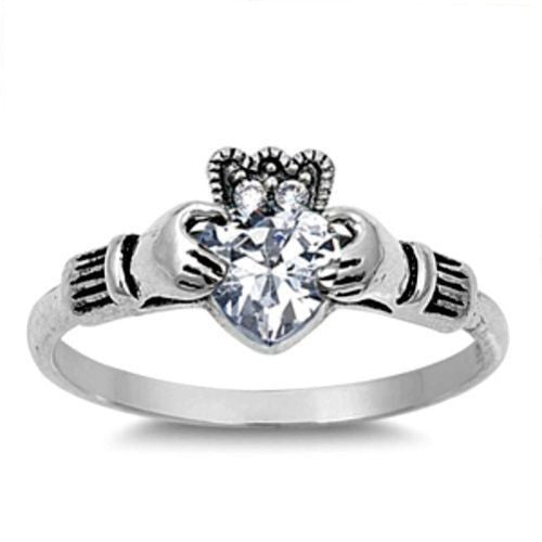 Sterling Silver Simulated Diamond CZ Irish Claddagh Ring size 5-10 by Blades and Bling Sterling Silver Jewelry