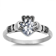 Sterling Silver Simulated Diamond CZ Irish Claddagh Ring size 5-10