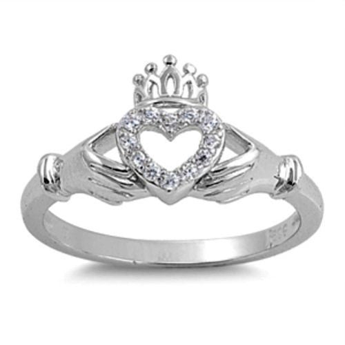 .925 Sterling Silver Irish Claddagh Ring Size 5-9 by Blades and Bling