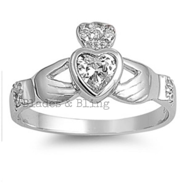 Sterling Silver Clear CZ Irish Claddagh Ring size 5-10 - Blades and Bling Sterling Silver Jewelry