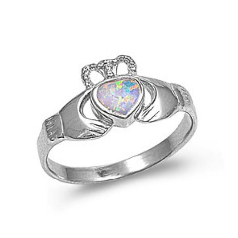 Ladies Sterling Silver White Opal Claddagh Ring CZ size 5-10