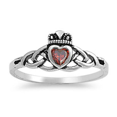 Sterling Silver Ruby Red Celtic Promise Claddagh Ring CZ size 5-9 by Blades and Bling Sterling Silver Jewelry
