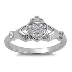 Sterling Silver CZ Irish Claddagh Ring size 5-10 - Blades and Bling Sterling Silver Jewelry