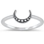 Womens and girls silver moon ring