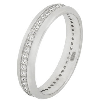 Sterling Silver Round Cut CZ Dome Eternity Ring Size 5-10 by Blades and Bling Sterling Silver Jewelry