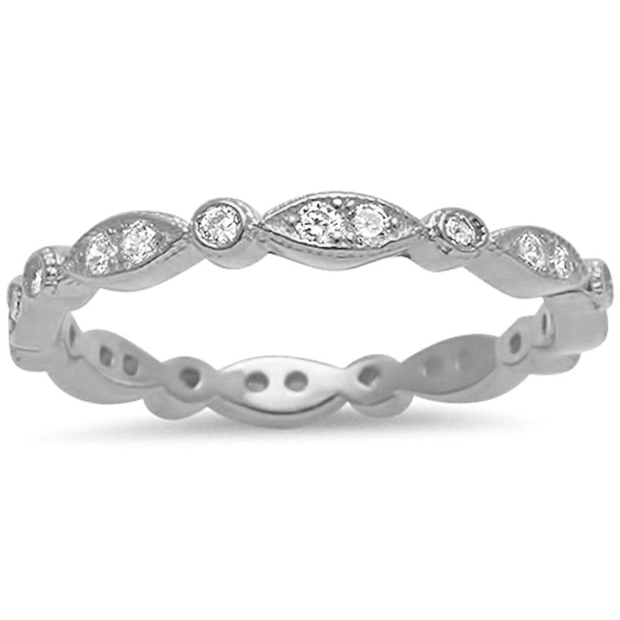 Womens marquis and round eternity ring to stack or wear alone in sterling silver